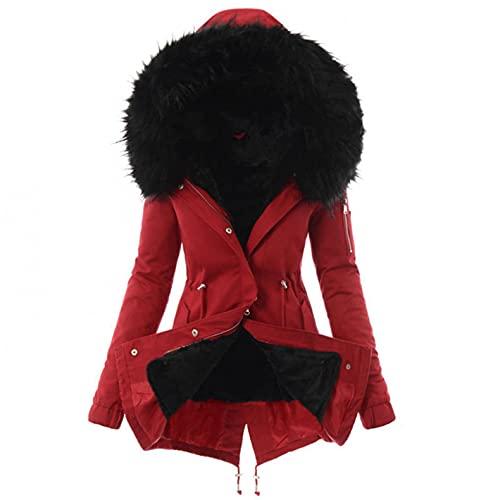 Abrigo de invierno cálido con capucha para mujer, talla grande, parka de invierno, monocolor, cálida, para exterior, de imitación de piel sintética, estilo casual, rojo, XL,