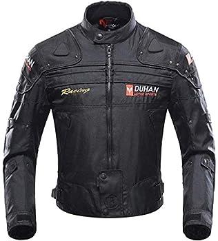 Veste de Moto, Blouson Moto Homme Sport avec Armure pour l'automne Hiver (Black, XXL)