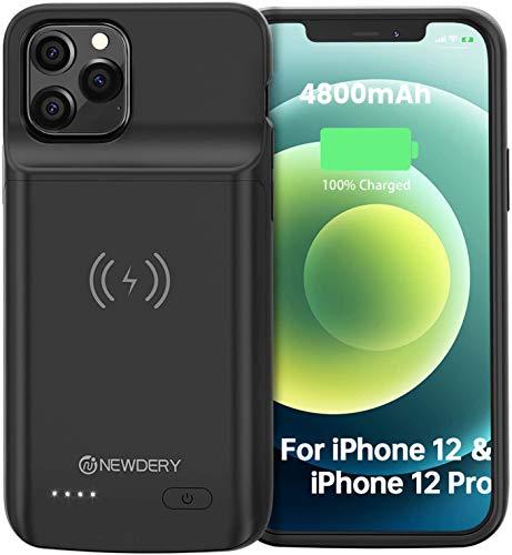 NEWDERY 4800mAh Funda Batería para iPhone 12& 12 Pro Funda Cargador Portatil para iPhone 12& 12 Pro Batería Externa Recargable Carcasa Batería