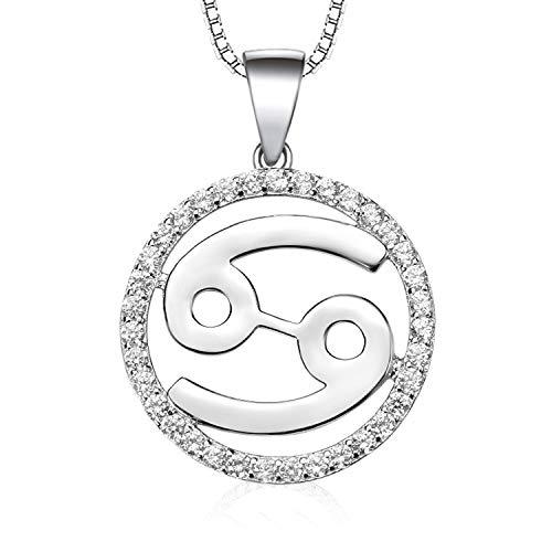 Werylee Silber Kette 925 Silber Zirkonia Horoskop Sternzeichen 12 Sternbild Krebs Anhänger Halskette für Damen