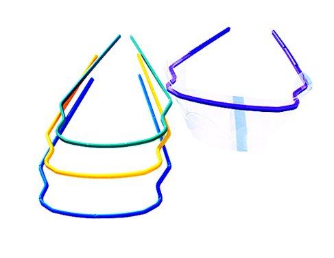 SDent USA FDA 1 Pack 20 Sets Disposable Dental Eye Shield Eye Mask Safety Glasses Mask Eyes Guard 1 Frame+1 Shield/Set 4 Colors 5 Sets/Color Random