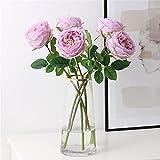 OYFFL 6 Stück Künstliche Pfingstrose Blumen Real Touch Blumen Seide Hochzeitsdekoration Einzigartige Partybedarf Dekoration Zubehör (HELLES LILA)