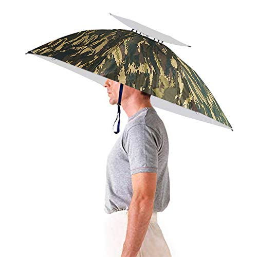Aoneky Windproof Head Umbrella Hat –35'' Large Adults Folding Brolly Hat with Hands free Headband for Women & Man Golf, Fishing, Gardening, Photography, Walking (Camouflage 2 Upgraded Version)