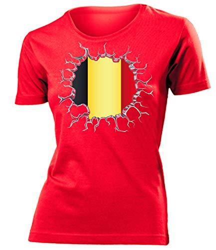 Belgien Belgium Belgique Fanshirt Fussball Fußball Trikot Look Jersey Damen Frauen t Shirt Tshirt t-Shirt Fan Fanartikel Outfit Bekleidung Oberteil Hemd Artikel