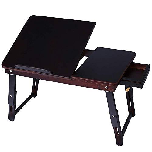 HYY-YY Mesa plegable de bambú para ordenador portátil, mesa de desayuno ajustable con cajón superior inclinable, apta para el hogar, etc. (color: negro, tamaño: 57 x 35 x 30 cm)