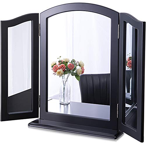 """Chende Large Black Trifold Mirror with Detachable Base, 32.67"""" X 23.62"""" 3 Ways Makeup Vanity Mirror for Vanity Table, Wood Table Countertop or Wall Mirror"""