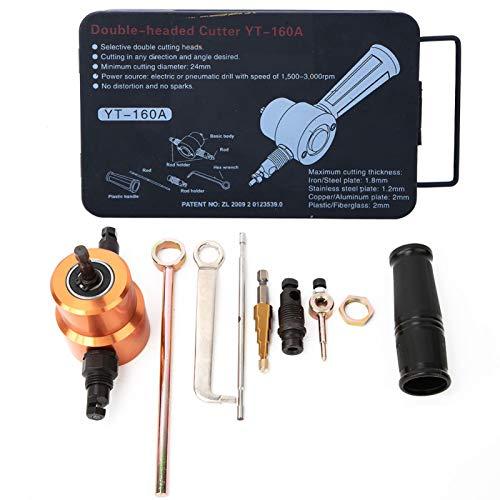 Cortador de chapa de doble cabezal, cortador de chapa de doble cabezal de 360 °, taladro versátil, herramienta de reparación de coche de corte DIY