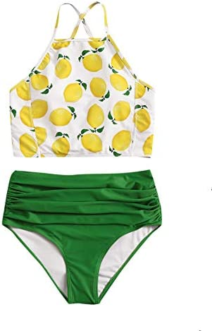 SOLY HUX Women s Halter Top with High Waist Ruched Panty Bikini Set Bathing Suits Multicoloured product image