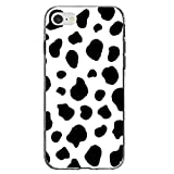 DistinctInk Clear Shockproof Hybrid Case for iPhone 7 / iPhone 8 (4.7' Screen) - TPU Bumper, Acrylic Back, Tempered Glass Screen Protector - Black White Cow Dalmatian Spots - Animal Print