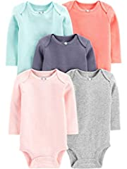 Five long-sleeve bodysuits in baby-soft cotton featuring nickel-free snaps at reinforced panels Expandable shoulders Fold over cuffs on preemie and Newborn sizes only Trusted Carter's quality, every day low prices, and hassle-free packaging-exclusive...