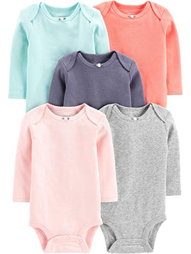 Simple Joys by Carter's Girls' 5-Pack Long-Sleeve Bodysuit, Solid, 3-6 Months