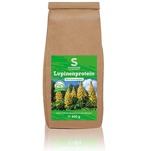 Schoefer Naturprodukte BIO Lupinenprotein - proteinreich - 100 % vegan, glutenfrei und laktosefrei - nachhaltig - für Low-Carb Ernährung - 400 g Packung