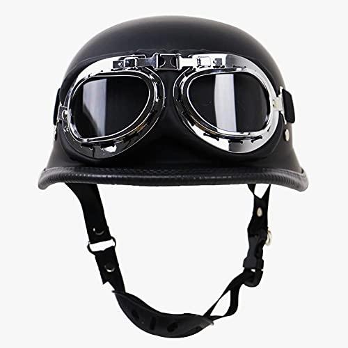 Casco De Motocicleta Semiabierto Con Certificación ECE/DOT, Cascos Vintage Con Gafas De Seguridad, Media Carcasa Ajustable, Casco Jet,Crucero De Medio Casco De Motocicleta (L(59-60cm))
