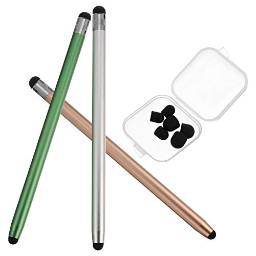 SOLUSTRE 3pcs Stylus Pens for Touch Screens Sensitivity Capacitive Stylus 2 in 1 Touch Screen Pen with 6 Extra Replaceable Tips for Tablets Phone