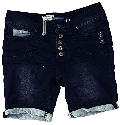 Eight2Nine Damen Bermuda Short Boyfriend tiefer Schritt Turn Up mit Quernaht by Surface Washed (S, Dark Blue)