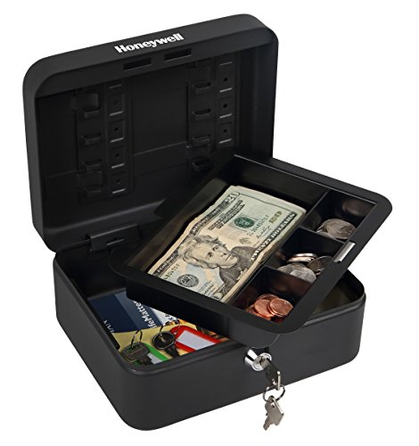 Honeywell Safes & Door Locks - 6111 Convertible Steel Cash and Security Box with Key Lock, Black