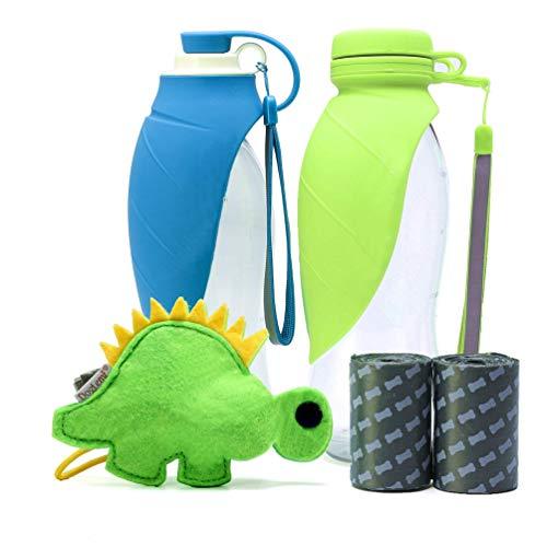 Tragbar Tiernahrung Wasserflasche, Reversibel & Leicht Katze Hunde Futterschale Reise, Aus Lebensmittelechtem Silikon-Futterspender - Grün