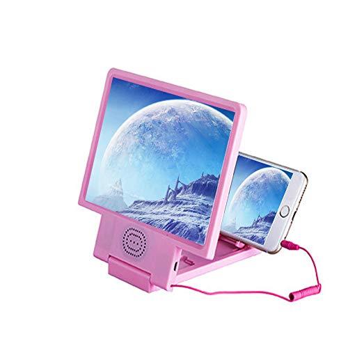 MAI&BAO Mobile Phone Screen Magnifier Glasses Magnifying Glass 3D Video Loupe Eye Protector Microscope Multi-func Smart-Phone Bracket,Pink