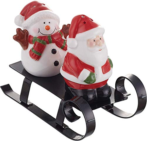Santa and Snowman Ceramic Salt and Pepper Shakers with Metal Sled