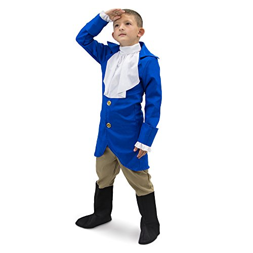 George Washington Children's Boy Halloween Dress Up Theme Party Roleplay & Cosplay Costume (Youth Small (3-4)) Blue