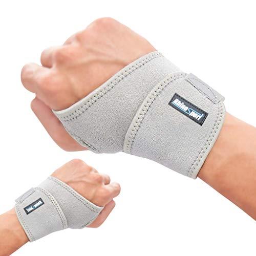 RHINOSPORT Handgelenk Bandagen Wrist Wraps Handgelenkbandage für Fitness, Bodybuilding, Kraftsport & Crossfit für Frauen und Männer Handgelenkschoner Handgelenkstütze (Grau, Set (Linke + Rechte))