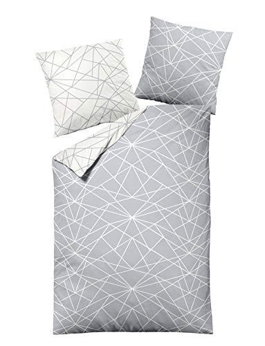 Dormisette Biber Bettwäsche 4tlg grau Silber 65101-08 | Bettwäsche-Set aus 100% Baumwolle | 4 teilige 2X Wende-Bettwäsche 135x200 cm & 2X Kissen 80x80 cm | Geometrisches Muster