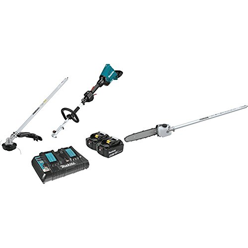 "Makita XUX01M5PT 18V X2 (36V) LXT Lithium-Ion Brushless Cordless Couple Shaft Power Head Kit with String Trimmer Attachment (5.0Ah) with EY401MP 10"" Pole Saw Couple Shaft Attachment"