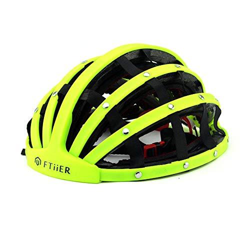 CARACHOME Casco Plegable Bicicleta, protección de Seguridad portátil Ajustable Casco Bicicleta para Hombres Adultos, Mujeres Tamaño (21.25-24 Pulgadas),fluorescentgreen