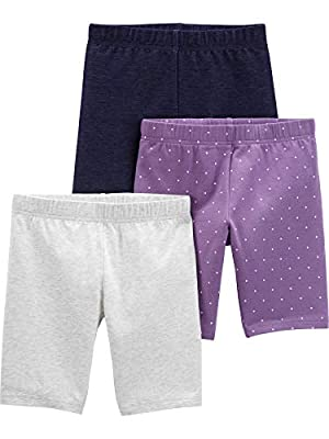 Simple Joys by Carter's Girls' 3-Pack Bike Shorts, Purple/Denim/Grey, 6-9 Months from Simple Joys by Carter's