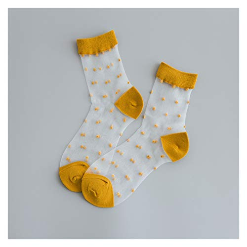 ZHEMAIDZ Fluffy Socks Vintage Dot Colored Summer Transparent Funny Socks Women Cute Hollow Out Thin Short Harajuku Socks Casual Cool Art Sock (Color : Yellow)
