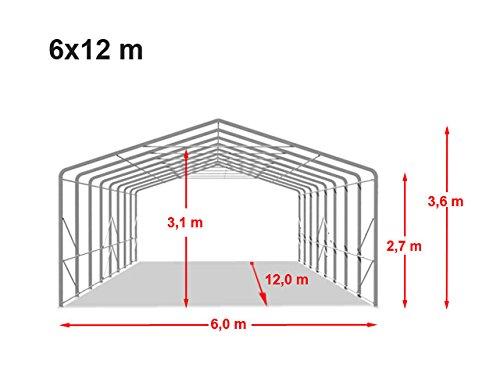 TOOLPORT Standsichere Lagerhalle/Lagerzelt 6 x 12 m/mit Statik feuersichere 720 g/m² PVC Plane Weidezelt dunkelgrün - 9