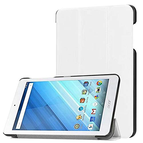 Zrengp Ultra Slim Folio Stand Luxury Leather Case with Sleep Wake Up Function Smart Cover for Acer Iconia One 8 B1-850 B1-860 B1-870 / One8 B1-860A 8' (White)