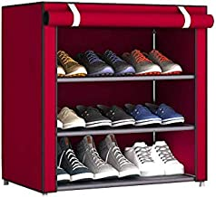 PARASNATH Mild Steel Red Cloth 3-4 Shelves Shoe Rack/Shoe Stand Made in India(Limited Time Offer)