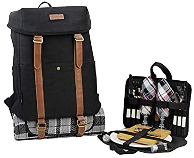 CALIFORNIA PICNIC Picnic Backpack for 4 Picnic Basket Stylish All-in-One Portable Picnic Bag with Complete Cutlery Set, Stainless Steel SP Shakers Picnic Blanket Waterproof Large| Cooler Bag for