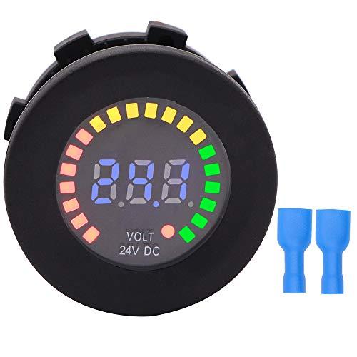 Waterproof Battery Meter 24V DC Voltmeter LED Digital Display Voltage Gauge Battery Tester for Marine Car Truck Boat RV