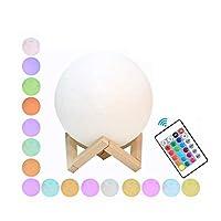 ムーンランプ ムーンランプ 16色LEDムーンナイトライト パットとリモコン ウッドスタンド付き USB充電式 赤ちゃんの女の子の男の子の家族の誕生日のために (Color : 16 color, Size : 18cm)