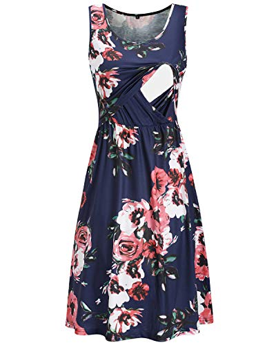 Product Image of the OUGES Womens Sleeveless Summer Floral Maternity Dresses Nursing Gown...