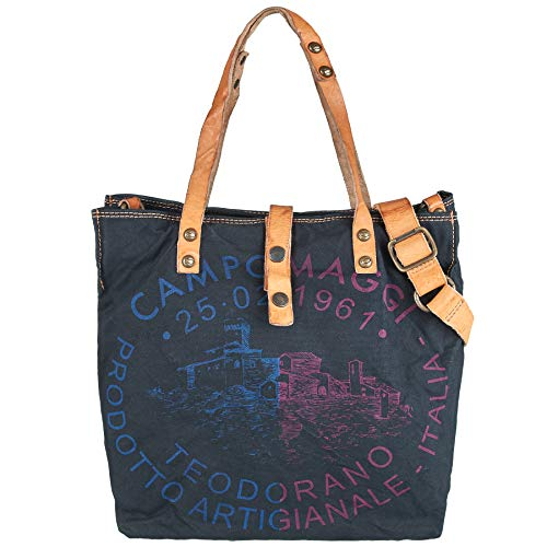 Campomaggi Shopper in nero print blu/fuxia cp-C001671ND-X0009-F0038
