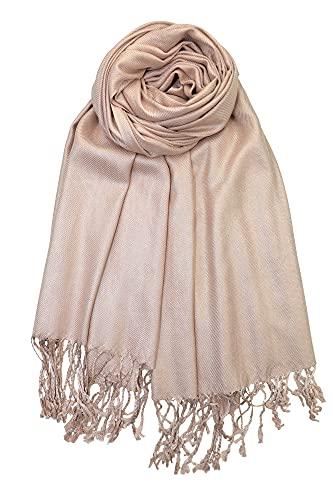 Achillea Soft Silky Solid Pashmina Shawl Wrap Scarf for Wedding Bridesmaid Dress (Tan)