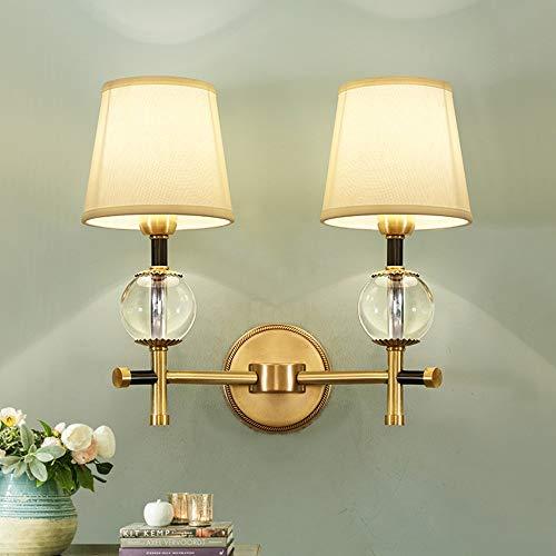 BDwantan Lámpara de pared con doble cabeza de cobre puro, lámpara de pared de cristal, para dormitorio, mesita de noche, lámpara de fondo de TV, lámpara de decoración de pared (40 x 42 cm)