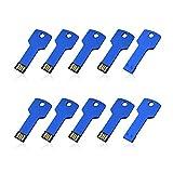 RAOYI 10Pack 32GB USB Flash Drive Key Thumb Drive Metal Memory Sticks Jump Drive 32G, USB 2.0 Stick Blue