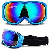 ZW Skibrille, Snowboardbrillen mit Anti-Fog-Doppelobjektiv, UV400 Ski Snowmobile Sonnenbrille überzog UV-Schutz Snowboarder Männer Frauen,Schwarz