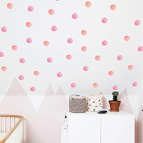ROFARSO 120 Decals 2.2'' Pink Orange Dots Wall Decals Watercolor Polka Wall Stickers DIY Decoration for Kids Baby Boys Girls Teens Removable Home Decor for Nursery Bedroom Living Room Playing Room