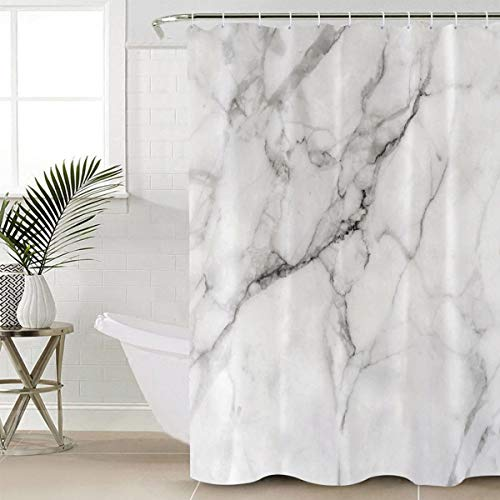 """Beauty Decor Marble Shower Curtain Waterproof Polyester Fabric Shower Curtains Granite Surface Motif with Sketch Nature Effect and Cracks Print Decorative Bathroom Curtain with Hooks 72"""" W x 72"""" L"""