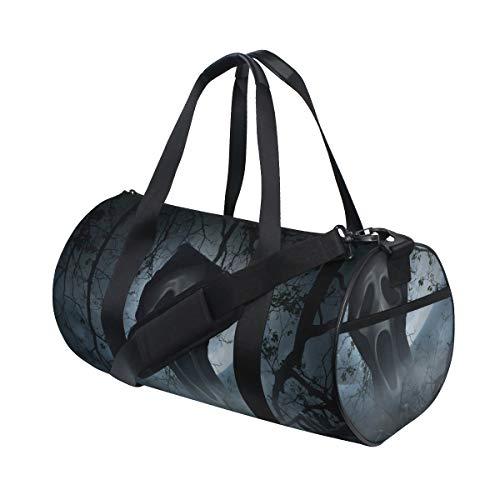 ZOMOY Sporttasche,Ghost Scream Mit Alten Zaun über Rauch,Neue Bedruckte Eimer Sporttasche Fitness Taschen Reisetasche Gepäck Leinwand Handtasche