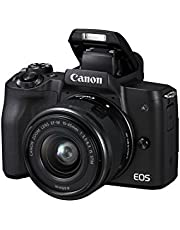Canon EOS M50 Systeemcamera Kit, 24,1 MP, Roterend en Draaibaar 7,5 cm Touchscreen LC-display, Digic 8, 4K Video, OLED EVF, WLAN, Bluetooth, met Lens EF-M 15-45 mm IS STM, Zwart