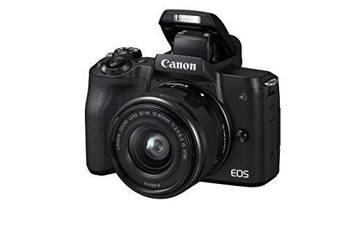 Canon EOS M50 spiegellose Systemkamera (24,1 MP, dreh-und schwenkbares 7,5cm (3 Zoll) Touchscreen-LCD, Digic 8, 4K Video, OLED EVF,WLAN, bluetooth) + EF-M 15-45mm IS STM Objektiv schwarz
