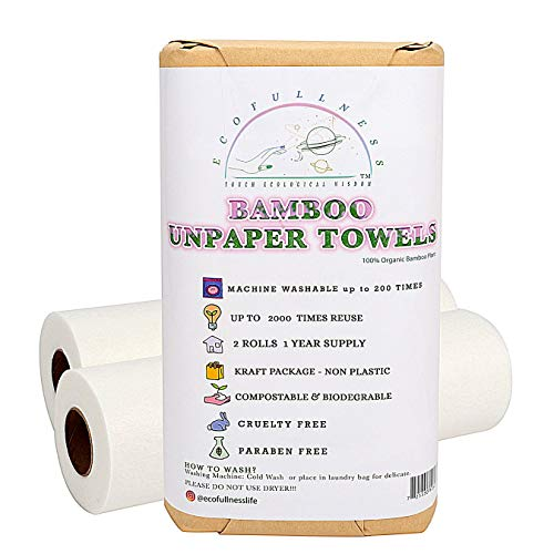 Bamboo Paper Towels - 2 Rolls of 11 x 12 Inch Reusable Paper Towels That Can Be Used Up To 2000 Times - 40 Sheets Last Up to One Year - Paper Towel Alternative With Zero Plastic Packaging