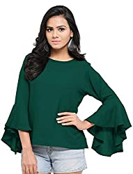 Serein Womens Top (Green Crepe top with Flute Sleeves)