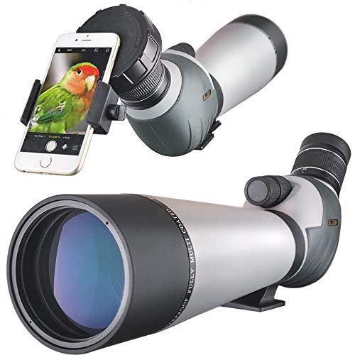 Telescopio de detección HD 20-60x80 con Adaptador para teléfono Inteligente, Zoom de Enfoque Dual Impermeable BAK4 Ocular Completamente Multicapa para Caza, Tiro, observación de Aves
